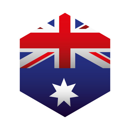 geometric flag button happy australia day vector illustration