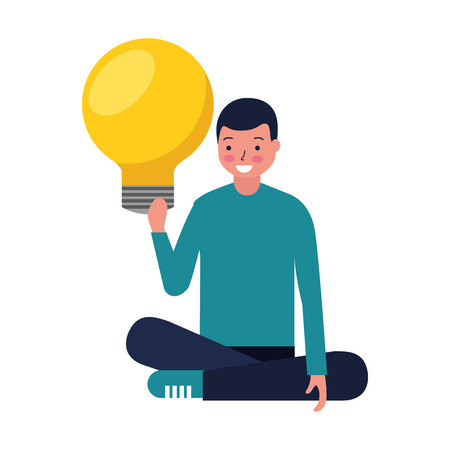 man sitting with bulb idea education vector illustration