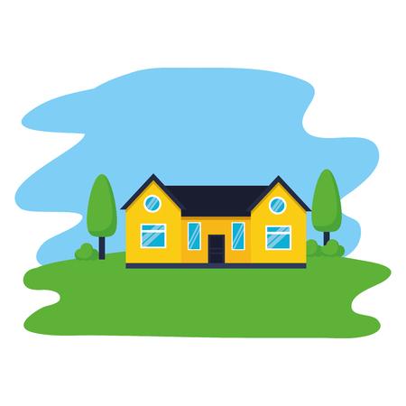 house tree garden exterior scene vector illustration