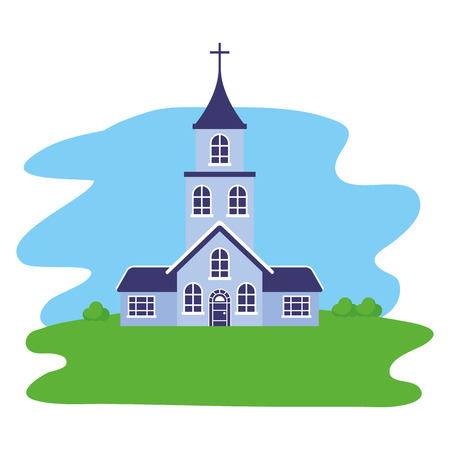church building trees facade scene vector illustration