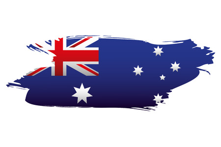 flag and map happy australia day vector illustration