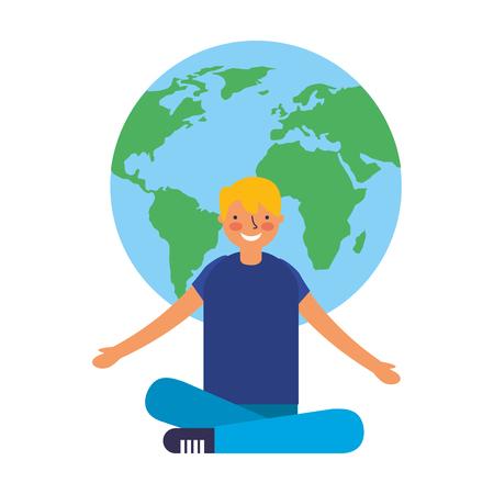 boy with map world education vector illustration Illustration