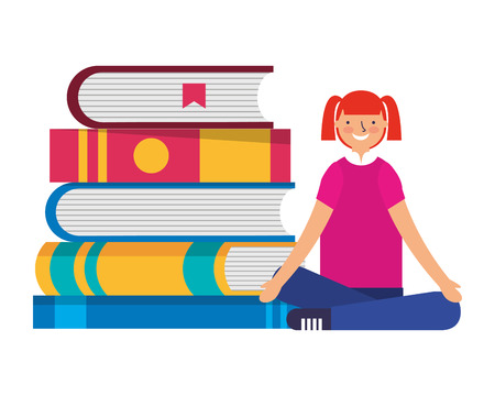 girl sitting and stack books education vector illustration
