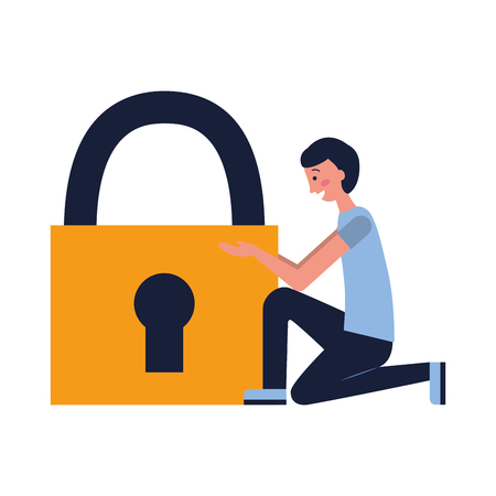 man with padlock security white background vector illustration
