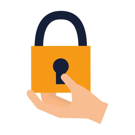 hand holding padlock protection security vector illustration
