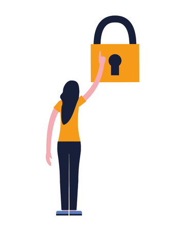 woman holding padlock security white background vector illustration