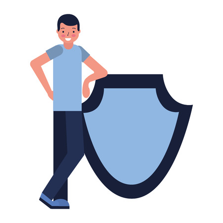man with shield protection white background vector illustration