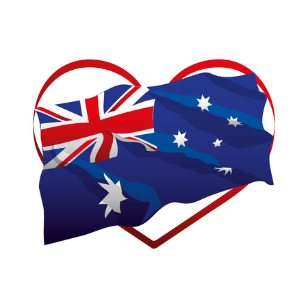 flag in the heart happy australia day vector illustration vector illustration 일러스트