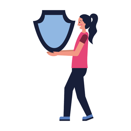 woman with shield protection secure vector illustration