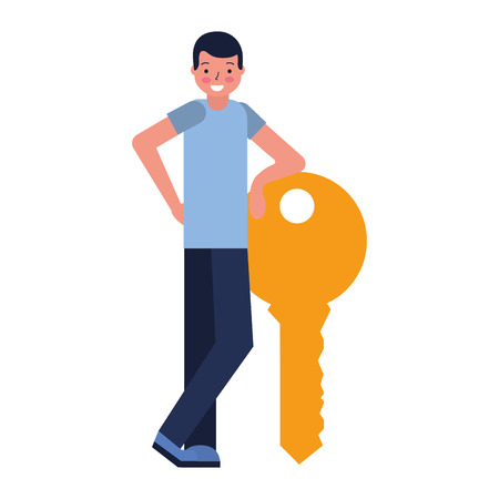 man with key security protection vector illustration