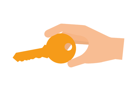 hand holding key access security vector illustration