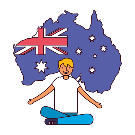boy sitting with flag and map australia