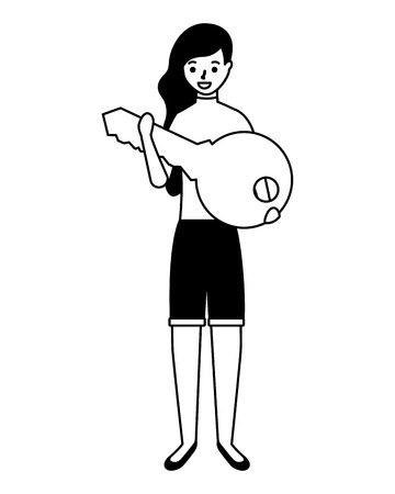 woman holding key protection safe vector illustration Foto de archivo - 127260717