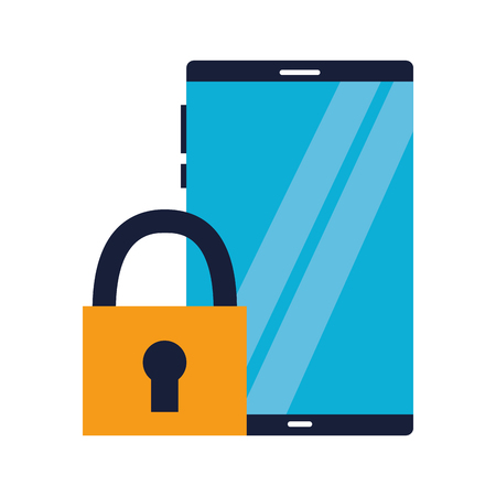 smartphone technology security on white background vector illustration