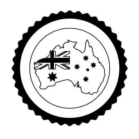 map flag button happy australia day vector illustration