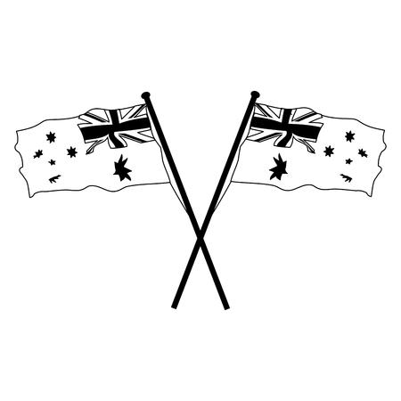 crossed flags happy australia day vector illustration