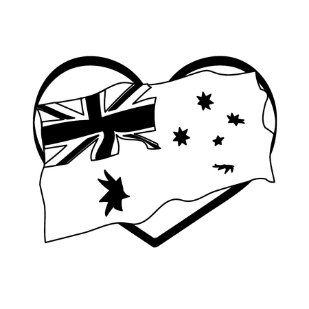 flag in the heart happy australia day vector illustration vector illustration Illustration
