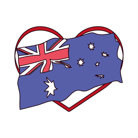 flag in the heart happy australia day vector illustration vector illustration  イラスト・ベクター素材