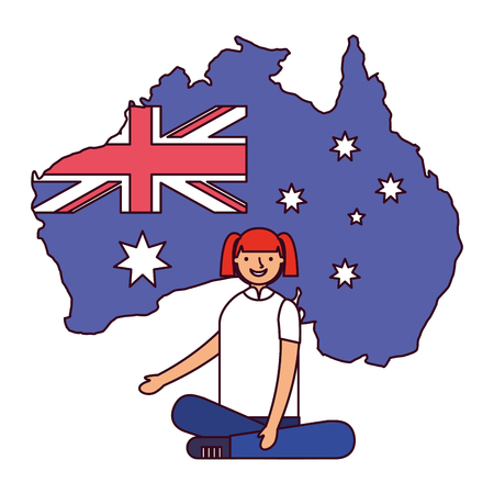 happy girl sitting with flag and map australia vector illustration  イラスト・ベクター素材