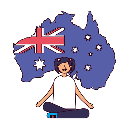 happy girl sitting with flag and map australia vector illustration Reklamní fotografie - 127260745