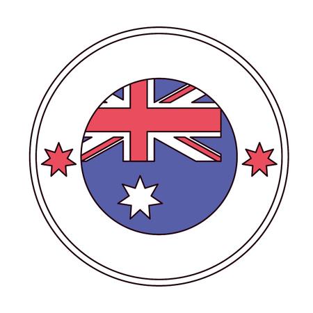 flag button happy australia day vector illustration Illustration