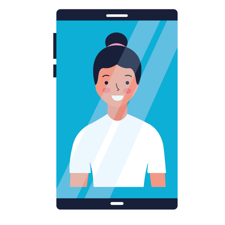 woman on screen smartphone device vector illustration