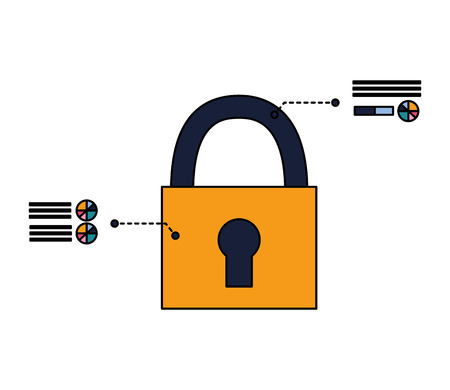padlock security data system sign vector illustration