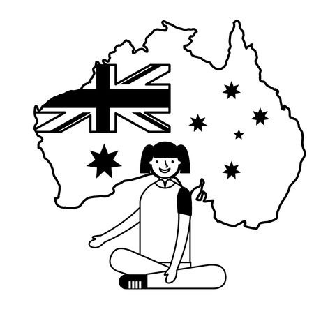 happy girl sitting with flag and map australia vector illustration Çizim