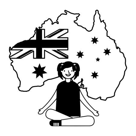 happy girl sitting with flag and map australia vector illustration Иллюстрация