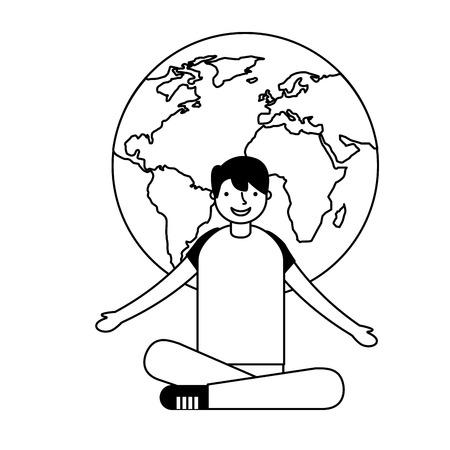 boy with map world education vector illustration  イラスト・ベクター素材