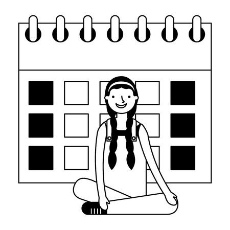 girl sitting with calendar education vector illustration