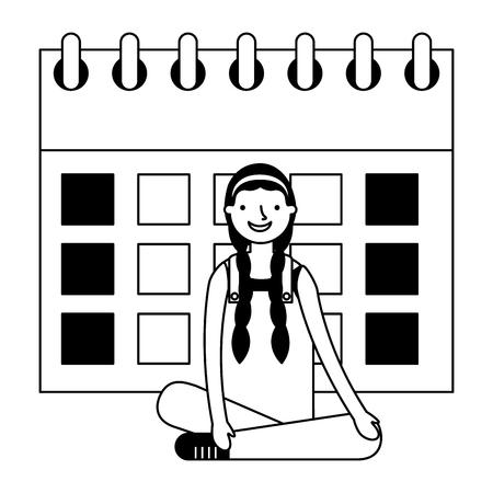 girl sitting with calendar education vector illustration