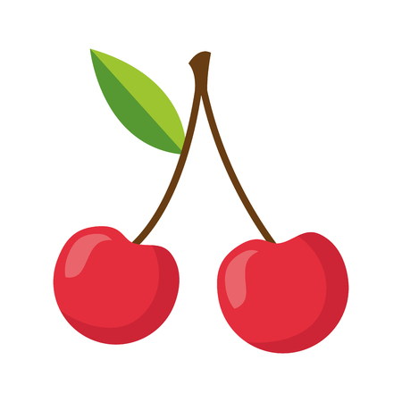 cherries fresh healthy food on white background  vector illustration Ilustração
