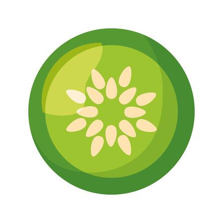 Gurke frisches gesundes Essen auf weißer Hintergrundvektorillustration
