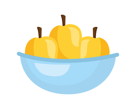 bowl with mangos fresh healthy food vector illustration