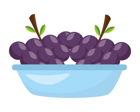 bowl with grapes fresh healthy food vector illustration Illustration