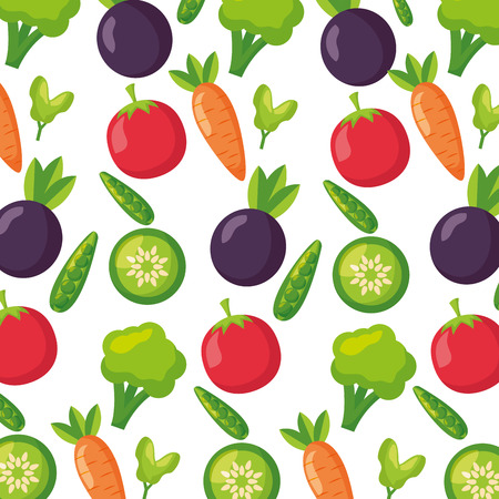 vegetables fresh healthy food on white background vector illustration