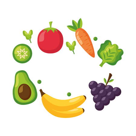 healthy food fruits and vegetables on white background vector illustration Stok Fotoğraf - 112882722