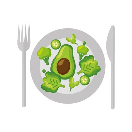 salad dish fork knife healthy food vector illustration Standard-Bild - 112882725