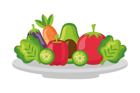 vegetables fresh healthy food on dish vector illustration Ilustração