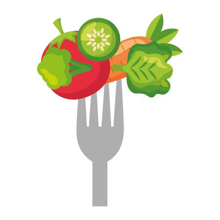 légumes frais aliments sains sur illustration vectorielle fourche Vecteurs