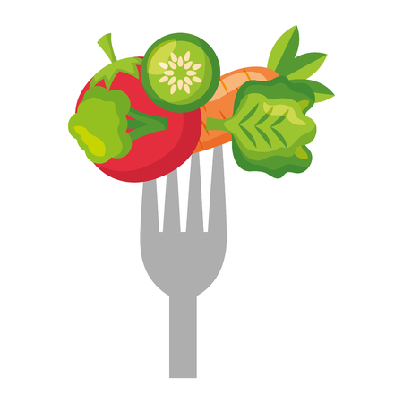vegetables fresh healthy food on fork vector illustration Illustration