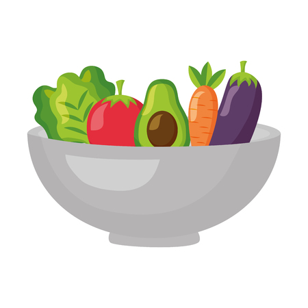 bowl with vegetables healthy food vector illustration Stock Vector - 127260777