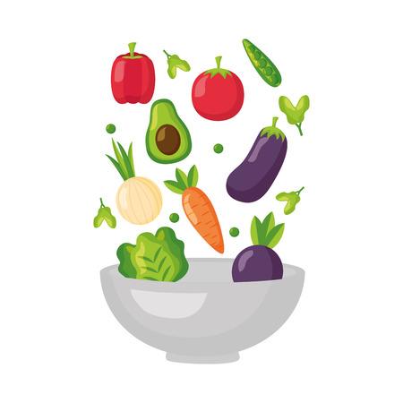 falling vegetables in bowl fresh healthy food vector illustration Zdjęcie Seryjne - 127260778