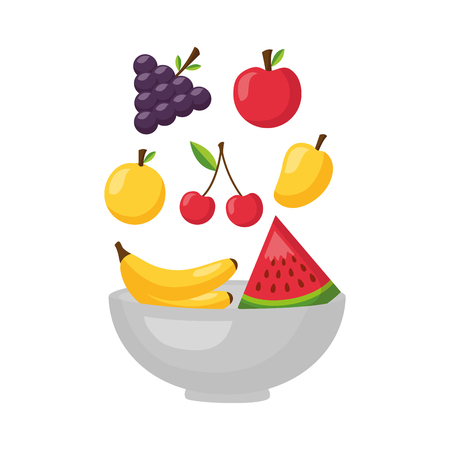 falling fruits in bowl fresh healthy food vector illustration