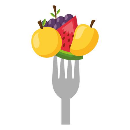 fruits fresh healthy food on fork vector illustration Archivio Fotografico - 127260781