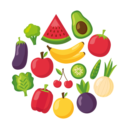 fruits and vegetables healthy food fresh vector illustration