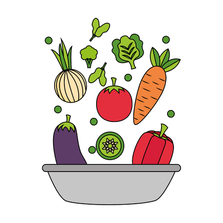 vegetables in bowl healthy food fresh vector illustration
