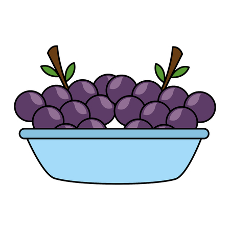 bowl with grapes fresh healthy food vector illustration Çizim