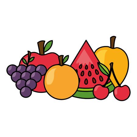 orange mango cherry watermelon apple healthy food vector illustration Standard-Bild - 112878871